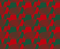 Retro 3D red and green zigzag cut ribbons Royalty Free Stock Photos