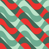 Retro 3D red waves with green parts Royalty Free Stock Images