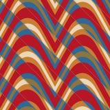 Retro 3D som sväller ut röda och blåa vågor klippte diagonalt Arkivbild