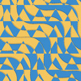 Retro 3D yellow and blue waves with cut out triangles. Abstract layered pattern. Bright colored background with realistic shadow and thee effect Royalty Free Stock Photo