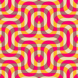 Retro 3D yellow magenta and brown overlapping waves Royalty Free Stock Images