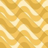 Retro 3D yellow waves diagonally cut Stock Photo