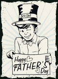 Retro Dad Holding a Sign Celebrating Father's Day, Vector Illustration. Mischievous dad with top hat and greeting sign celebrating a happy Father's Day royalty free illustration
