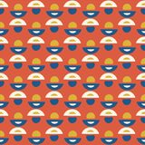 Retro Daisy Floral Vector Pattern Orange en Blauw royalty-vrije illustratie