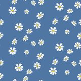 Retro daisy simple blue florals seamless vector pattern. Blue and white chamomile floral dress textile print background vector illustration