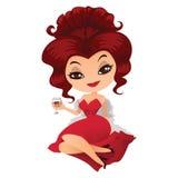 Retro dama z szkłem w ręce Zdjęcia Royalty Free