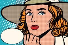 Retro dame denkt close-up royalty-vrije illustratie