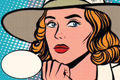 Retro- Dame denkt Nahaufnahme lizenzfreie abbildung