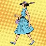 Retro- Dame im Sommerkleid und -hut lizenzfreie abbildung