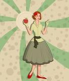 Retro dame met appel vector illustratie