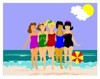5 retro dames op het strand Stock Fotografie