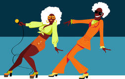 Retro dance couple. Mature black couple dressed in 1970th fashion dancing a novelty dance, EPS 8 vector illustration Stock Photo