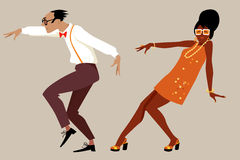 Retro dance party. Couple dressed in 1960 fashion dancing a novelty dance, EPS 8 vector illustration, no transparencies vector illustration