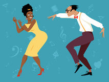 Retro dance party. EPS 8 vector illustration of a mixed-race couple dressed in 1960s fashion dancing, no transparencies stock illustration