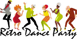 Retro dance party. Group of active seniors dressed in 1950th - 1960th fashion dancing at a Retro Dance Party, EPS 8 vector illustration stock illustration