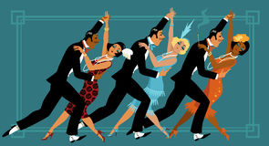 Retro dance party. Group of people dressed in retro fashion dancing, EPS 8 vector illustration vector illustration