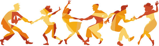 Retro dance party. Polygonal vector silhouette of people dancing swing, lindy hop or rock and roll, EPS 8 royalty free illustration