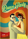 Retro dance party poster Royalty Free Stock Photos