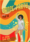 Retro dance party poster. Vector illustration Stock Image