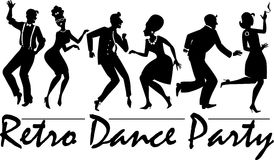 Retro dance party. Silhouette of people dressed in vintage fashion, dancing the twist and rock and roll, vector illustration, no white, EPS 8 royalty free illustration