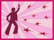Retro dancer. Wit pink background in vector format too Stock Photos