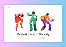 Retro Dancer Character Dance Landing Page. Man and Woman Dancing on Music Party, Nightlife Concept for Website. Template. Flat Cartoon Vector Illustration stock illustration