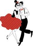 Retro dancing couple vector illustration