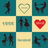 Retro dancing rock `n` roll couples Stock Photography