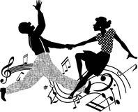 Retro dancing silhouette. Black and white silhouette vector illustration of an African-American couple dancing Stock Images