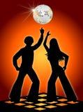 Retro danzatori della discoteca arancioni Fotografie Stock Libere da Diritti