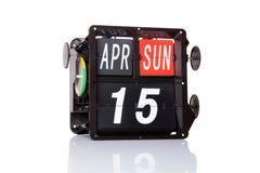 Retro data del calendario meccanico isolata Immagini Stock