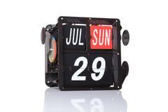 Retro data del calendario meccanico isolata Fotografie Stock Libere da Diritti