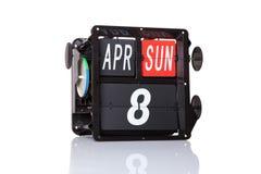 Retro data del calendario meccanico isolata Immagine Stock