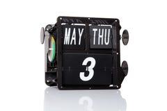 Retro data del calendario meccanico isolata Fotografia Stock Libera da Diritti