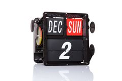 Retro data del calendario meccanico isolata Immagine Stock Libera da Diritti