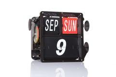 Retro data del calendario meccanico isolata Fotografia Stock