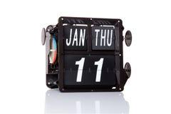 Retro- Datum des mechanischen Kalenders lokalisiert Lizenzfreies Stockfoto