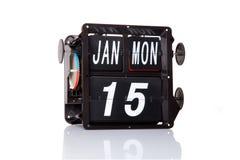 Retro- Datum des mechanischen Kalenders lokalisiert Lizenzfreie Stockfotografie
