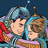 Retro de astronautenman van het liefdepaar vrouw stock illustratie
