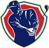 Retro de Club Speelgolf van de golfspelerschommeling royalty-vrije illustratie