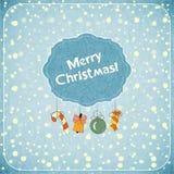 Retro de groetKaart van Kerstmis met speelgoed Stock Fotografie
