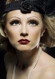 Retro de heroplevingsportret van de vrouw. Stock Foto