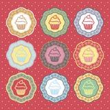 Retro de inzamelingsvector van cupcakesetiketten Royalty-vrije Stock Afbeelding