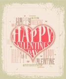 Retro de kaartontwerp van de Valentijnskaart Stock Foto