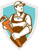 Retro de Kokerschild van loodgietermonkey wrench rolling Stock Foto's