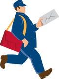 Retro de Mens van brievenbestellerpostal worker delivery Royalty-vrije Stock Afbeeldingen