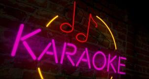Retro de neón del Karaoke en la pared stock de ilustración