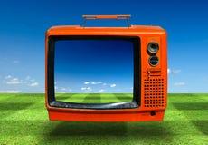 Retro, de oude televisie Stock Afbeeldingen
