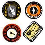 Retro de partijzegels van de muziekclub Stock Afbeelding