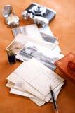 Retro de penvloeipapier en camera van de foto's uitstekende inkt Royalty-vrije Stock Foto